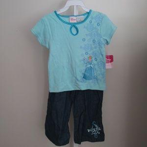 Cinderella Light Blue Top/Denim Jeans 2pc Set 2T